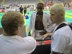 Conferring with coaches after the match