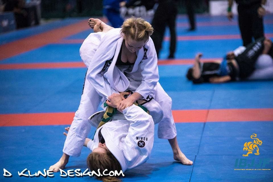 Maryland Jiu Jitsu White Belt, Leah Mays attempting a hook sweep at the IBJJF 2016 New York Spring Open